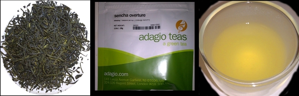 Dry tea leaves, package, and teacup with tea liquor for the Sencha Overture loose leaf tea from Adagio Teas