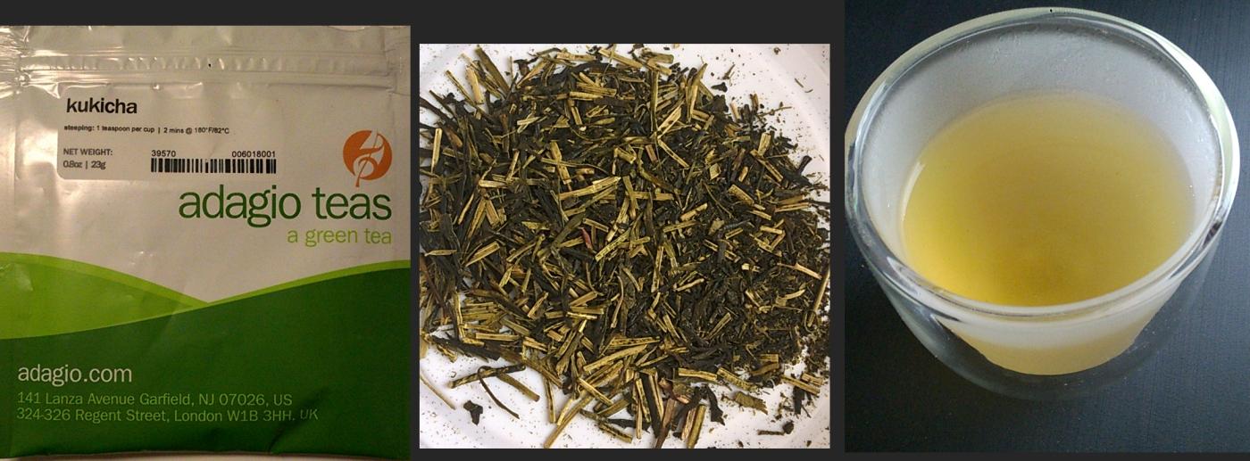 Package, dry tea, and tea liquor for the Kukicha loose leaf tea from Adagio Teas