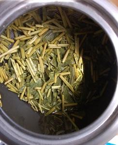 Wet Kukicha tea